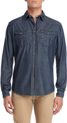 Armani Jeans Blue Regular Fit Snap Button Shirt