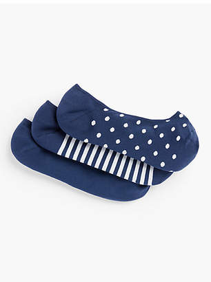 Talbots No-Show Socks - Solid, Dot & Stripe 3 Pack