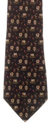 Salvatore Ferragamo Silk Cow Print Tie