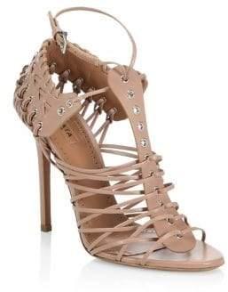 Alaà ̄a Alaà ̄a Women's Caged Stiletto-Heel Leather Sandals - Noir - Size 38.5 (8.5)
