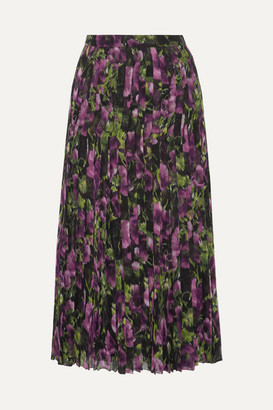 Prada Pleated Printed Silk-voile Midi Skirt