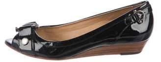 Frye Patent Leather Peep-Toe Wedges