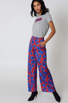 NA-KD Na Kd High Waist Shiny Flared Pants Red/Blue