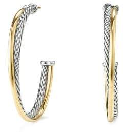 David Yurman Crossover Hoop Earrings With 18K Gold