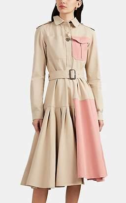 J.W.Anderson Women's Colorblocked Asymmetric Belted Shirtdress - Beige, Tan