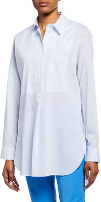 Theory Button-Front Long-Sleeve Cotton Tunic