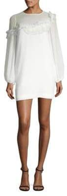 BCBGMAXAZRIA Long-Sleeve Ruffle-Trimmed Shift Dress