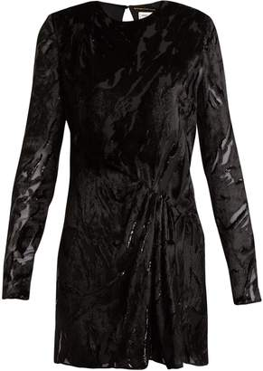 Saint Laurent Long-sleeved velvet-devoré mini dress