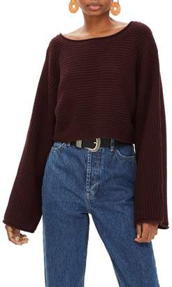 Topshop Roll Edge Crop Sweater