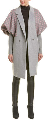 BCBGMAXAZRIA Plaid Houndstooth Wool-Blend Coat