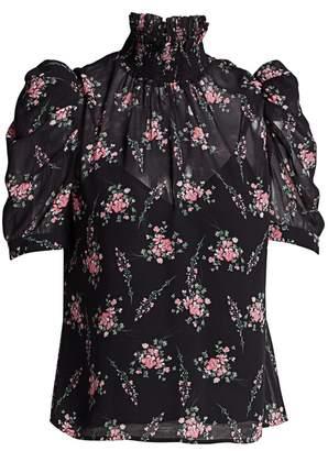 ML Monique Lhuillier Puff-Sleeve Floral Blouse