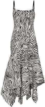 SOLACE London Marisol zebra-stripe asymmetric dress