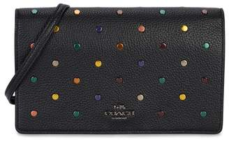Coach Black Grained Leather Cross