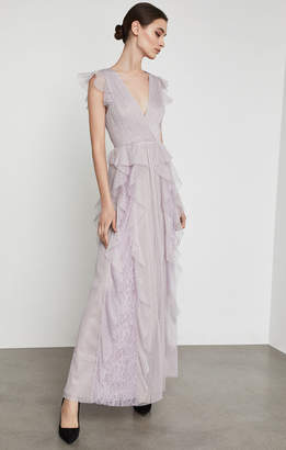 BCBGMAXAZRIA Draped Ruffle and Lace Gown