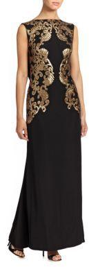 Tadashi Shoji Embellished Metallic-Lace Gown $548 thestylecure.com