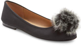 French Sole Agate Faux Fur Pom-Pom Flat