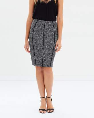David Lawrence Leslie Printed Pencil Skirt