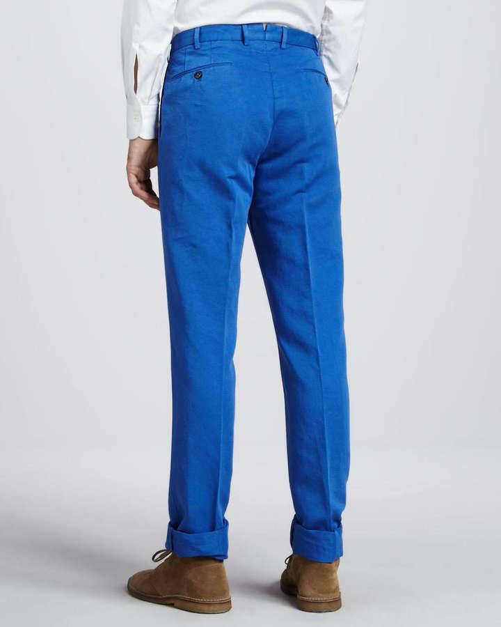 Incotex Chinolino Linen-Cotton Pants, Bright Blue