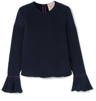 Roksanda Saba Satin-trimmed Silk-crepe Blouse - Midnight blue