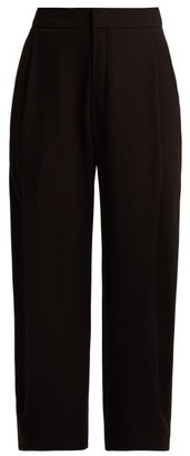 Chloé Mid Rise Pleated Crepe Trousers - Womens - Black