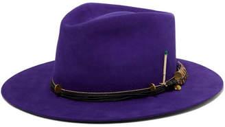 Nick Fouquet Púrpura Embellished Leather-trimmed Rabbit-felt Fedora - Purple