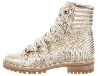 Christian Louboutin Metallic Coated Leather Ankle Boots