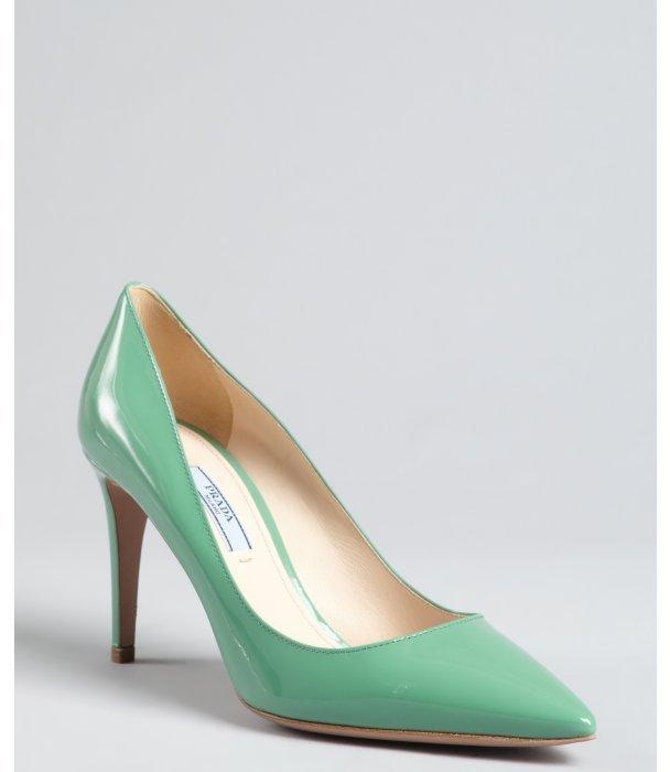 Prada aquamarine patent leather pointed toe pumps