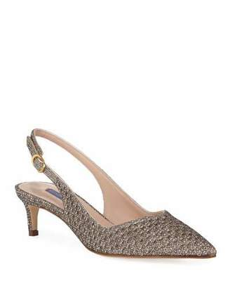 Stuart Weitzman Edith Metallic Slingback Cocktail Pump