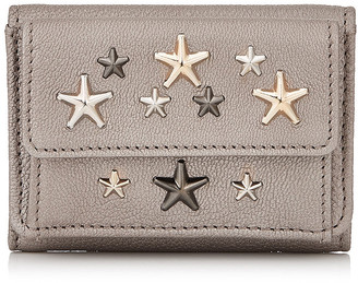 Jimmy Choo NEMO Light Khaki Pearlized Grainy Leather Small Wallet with MultiMetal Stars