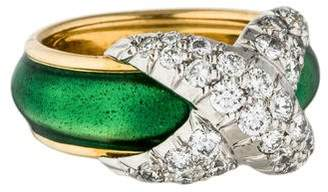 Tiffany & Co. 18K Diamond & Enamel X Ring $2,395 thestylecure.com