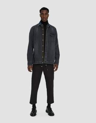 Sacai Denim Button Up Shirt in Black