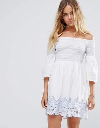 Miss Selfridge Bardot Embroidered Dress $69 thestylecure.com