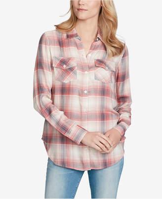 Jessica Simpson Juniors' Petunia Plaid Button-Front Shirt
