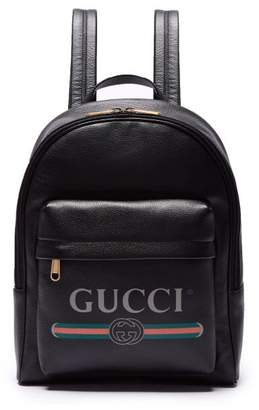 Gucci Logo Printed Leather Backpack - Mens - Black