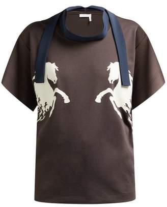 Chloé Little Horses Sash Trimmed Cotton T Shirt - Womens - Dark Brown