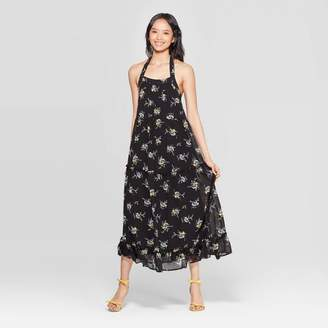 Who What Wear Women's Floral Print Off the Shoulder Sleeveless Tiered Halter Maxi Dress