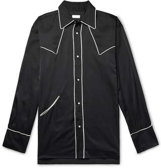 Dries Van Noten Oversized Piped Satin Western Shirt