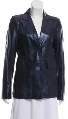 Plein Sud Jeans Peak-Lapel Leather Blazer