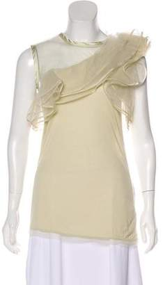 Valentino Ruffle-Accented Sleeveless Top w/ Tags