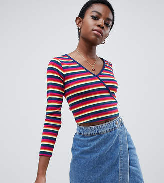 Asos DESIGN Petite long sleeve wrap top in bright stripe rib 50430964a