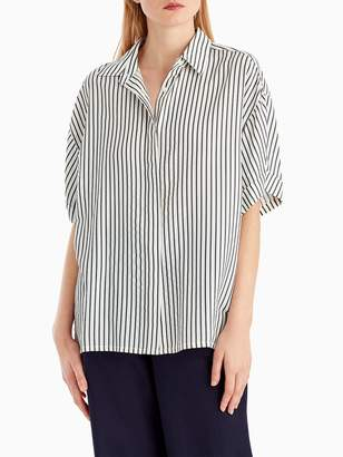 Striped Short Sleeve Button Blouse