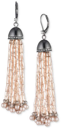 Carolee Hematite-Tone Pavé & Pink Bead Tassel Drop Earrings