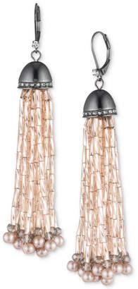 Carolee Hematite-Tone Pave & Pink Bead Tassel Drop Earrings