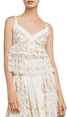 BCBGMAXAZRIA Embroidered Empire-Waist Top