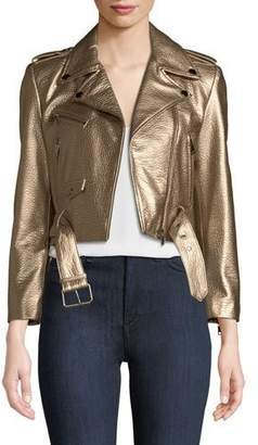 LaMarque Roberta Metallic Zip-Front Leather Moto Jacket
