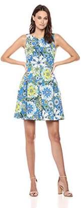 Taylor Dresses Women's Floral Print Fit and Flare Scuba Dress