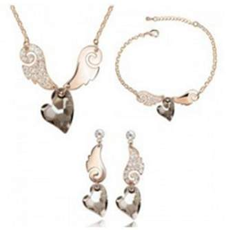AmaranTeen - Design stone heart crystal jewelry set for women