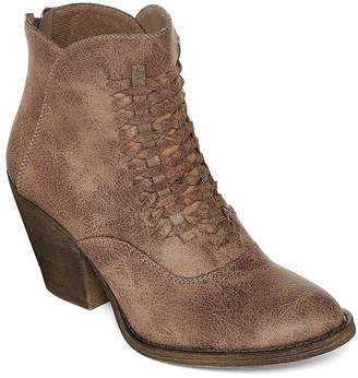 POP Womens Seska Lace Up Boots Block Heel Lace-up