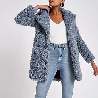 River Island Blue shearling fur longline coat
