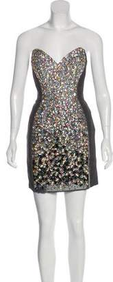 Jovani Embellished Strapless Midi Dress